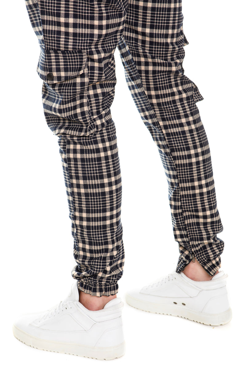 Plaid Cargo Pants With YKK Zippered Vents - Side View