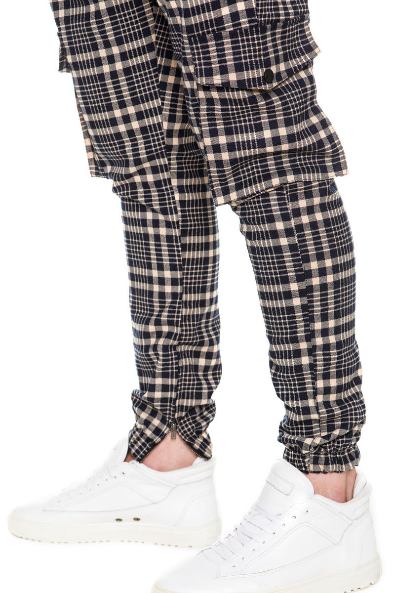 Plaid Cargo Pants With  Flap pockets at legs - Detailed View