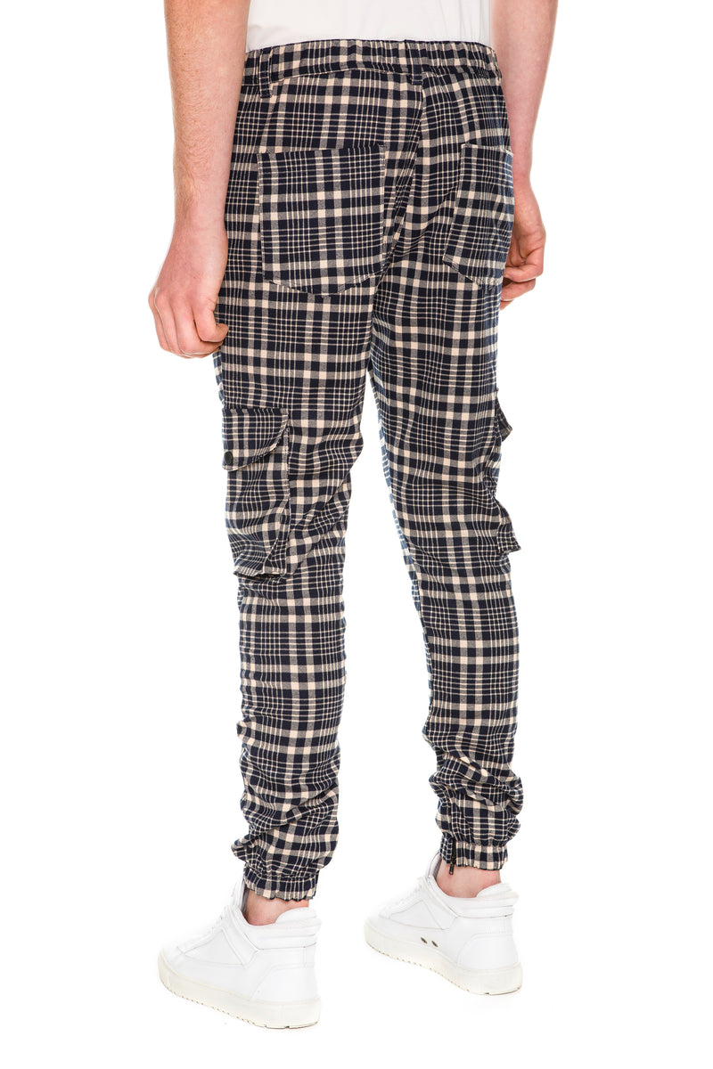 Plaid Cargo Pants With  Flap pockets at legs - Back View
