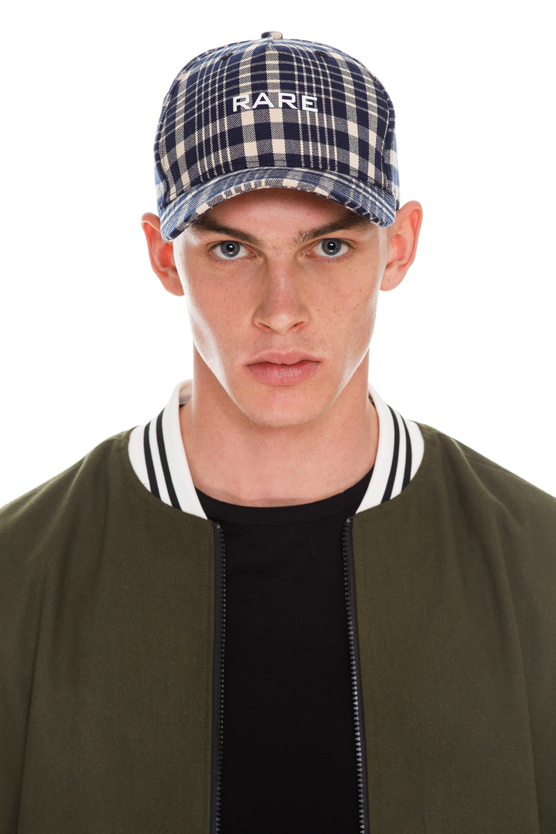 Plaid RARE Cap - Navy & Beige