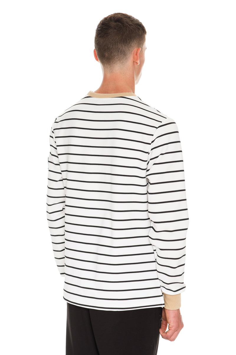Rare White With black Patch Long Sleeve T-Shirt - Back Side View