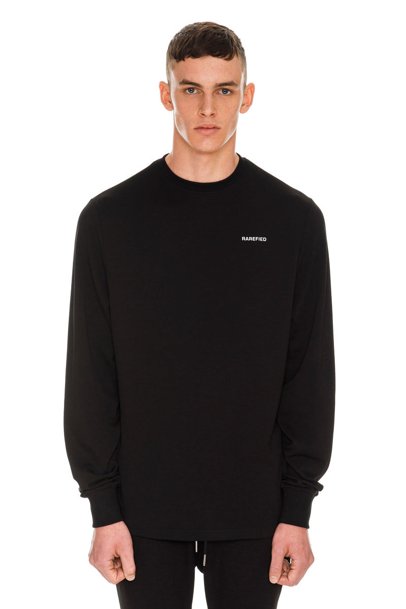Rarefied Quote Long Sleeve T-Shirt In Black - Front View