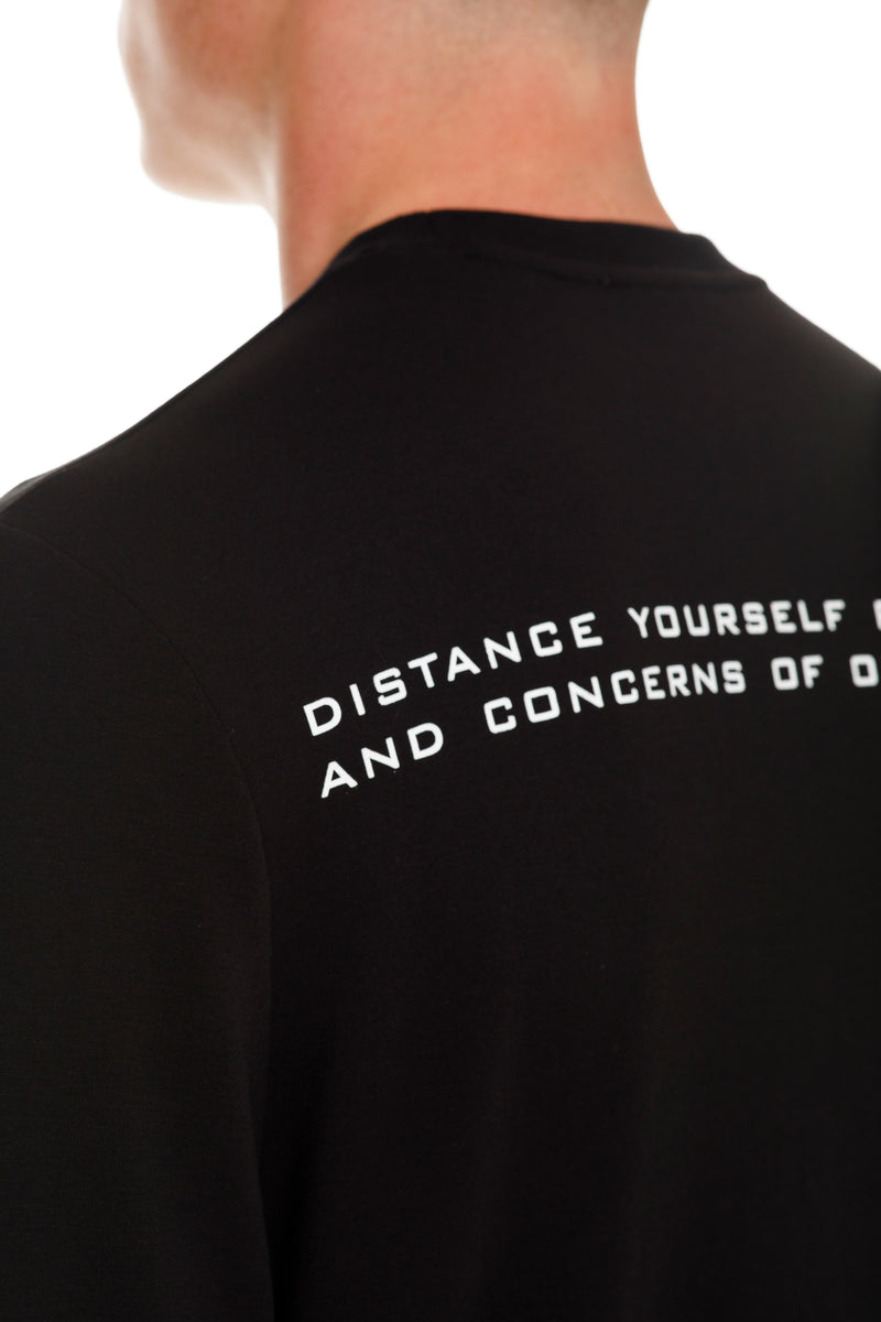 Rarefied Quote Long Sleeve T-Shirt In Black With Message - Detailed View
