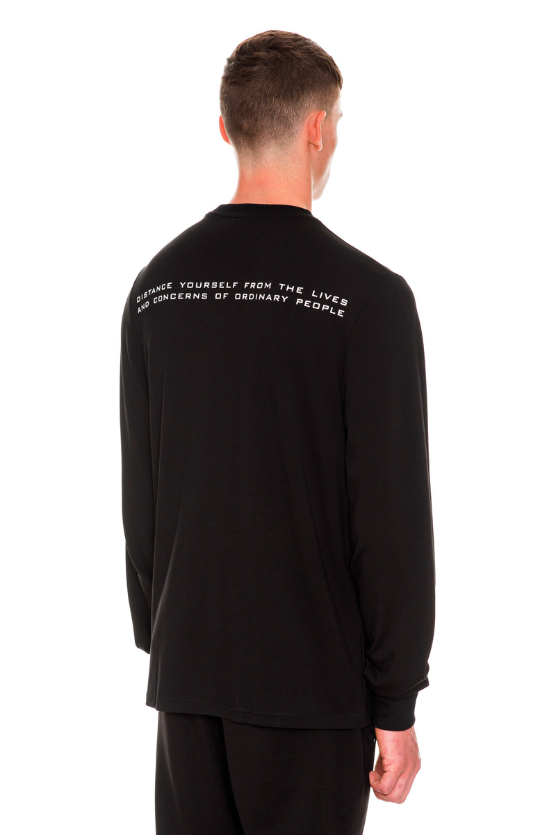 Rarefied Quote Long Sleeve T-Shirt In Black With A Message On It - Back View