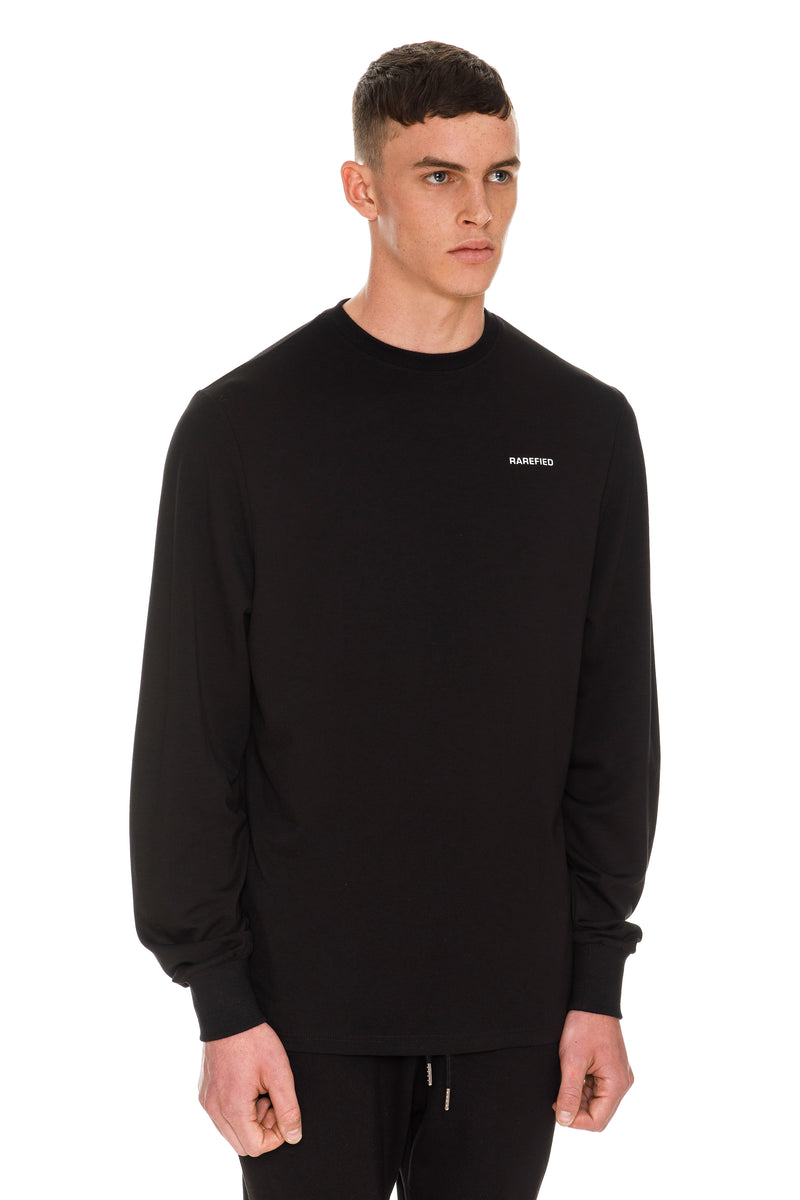 Rarefied Quote Long Sleeve T-Shirt In Black - Right Side View