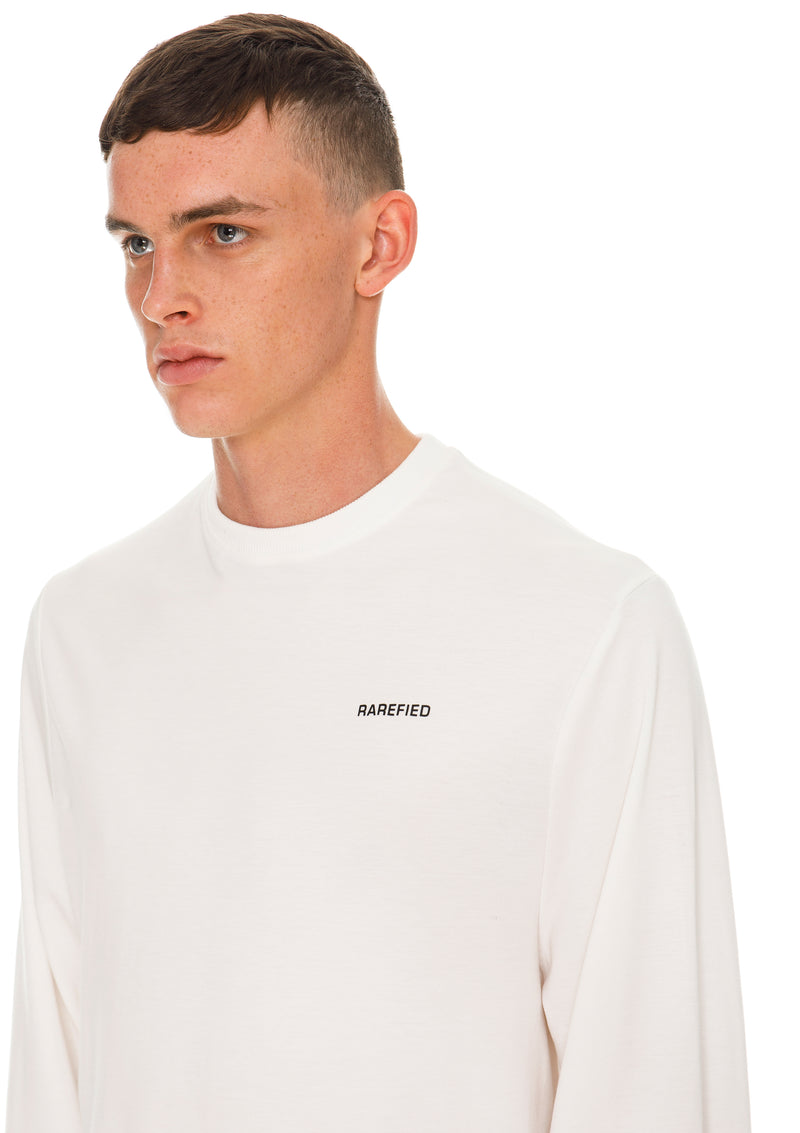 Rarefied Quote Long Sleeve T-Shirt In White - Detailed View