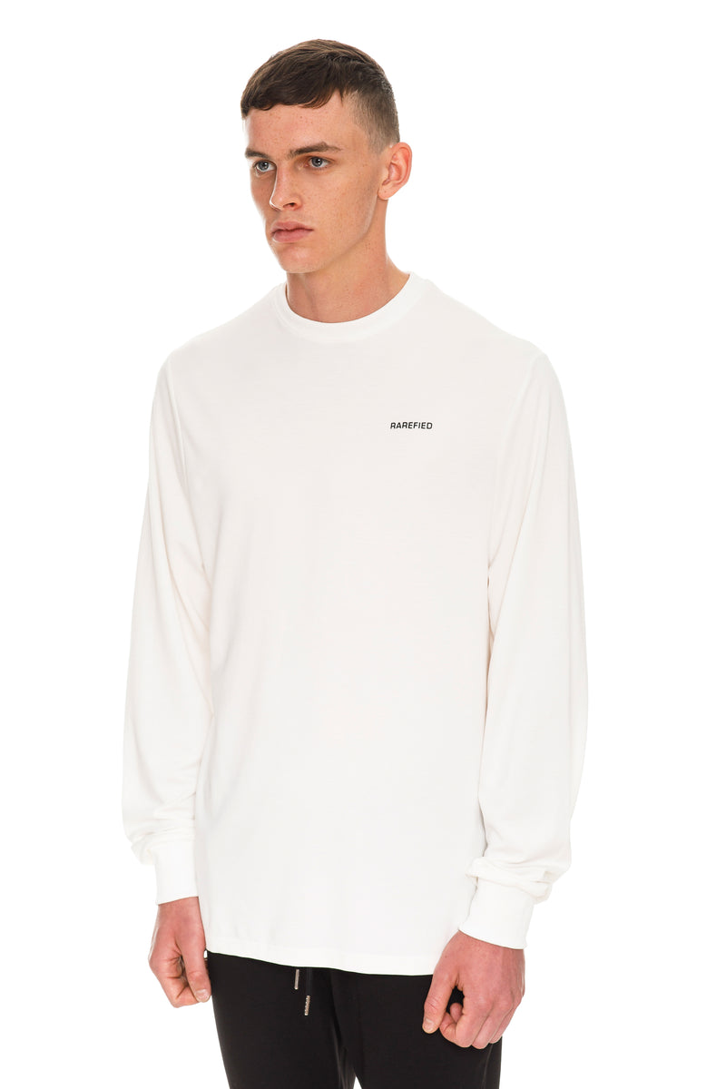Rarefied Quote Long Sleeve T-Shirt In White - Left Side View