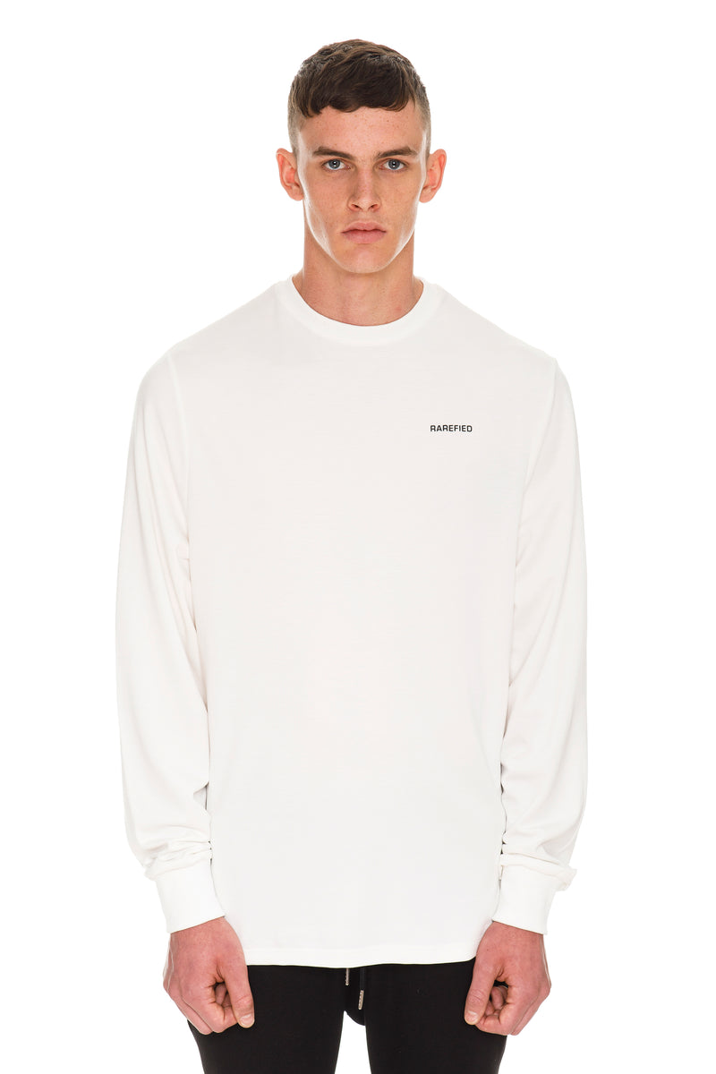 Rarefied Quote Long Sleeve T-Shirt In White - Front View