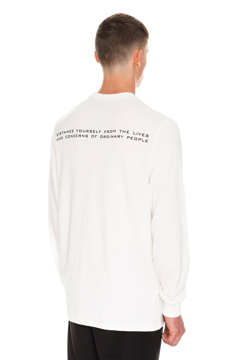 Rarefied Quote Long Sleeve T-Shirt In White With A Message On It - Back View