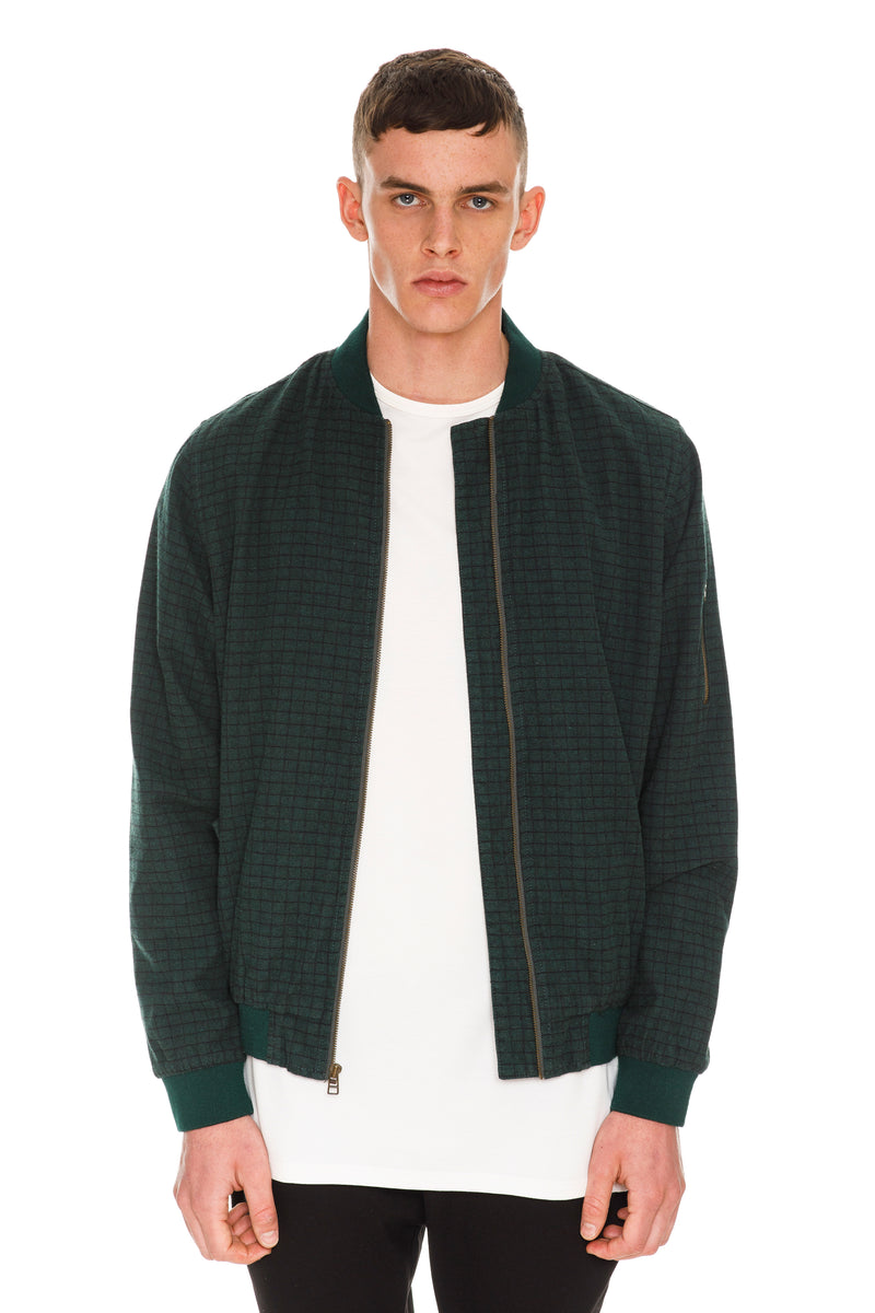 "Velvet Green Checkered Bomber - Featuring Copper-Washed Custom Moulded ""Rarefied"" Buttons"