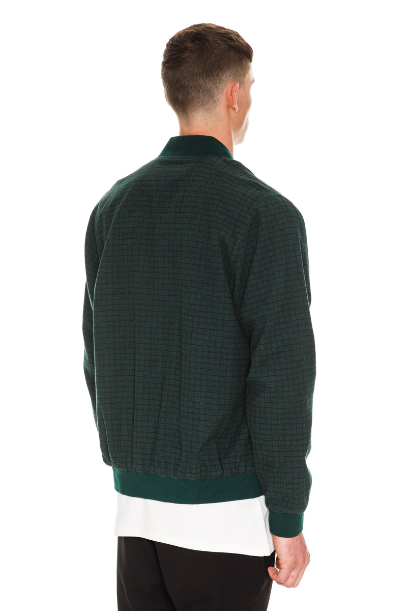 Velvet Green Checkered Bomber