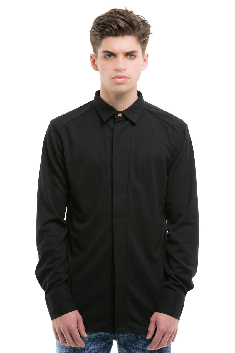 Black Japanese Shirt With Heavy Cotton Blend - Front View
