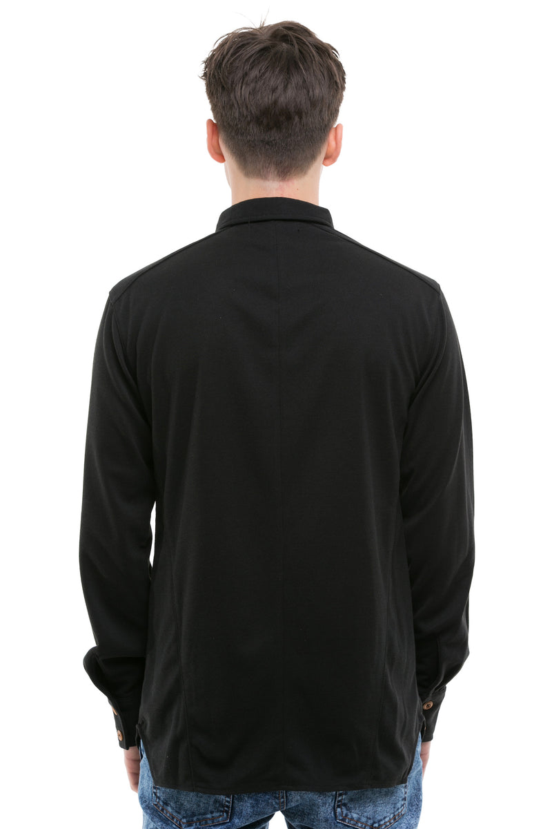 Black Japanese Shirt With Heavy Cotton Blend - Back View