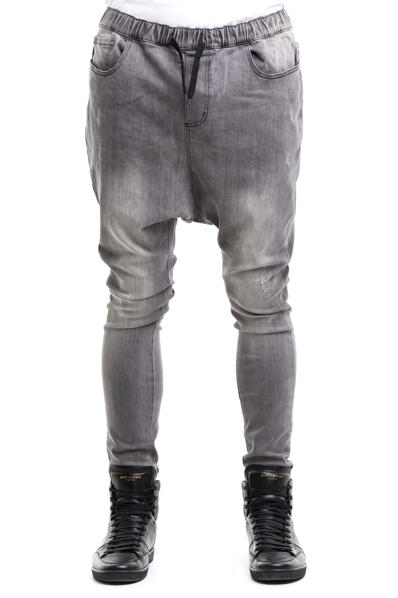 Black Drop Crotch Jeans - Formulated With A Thick Cotton Blend