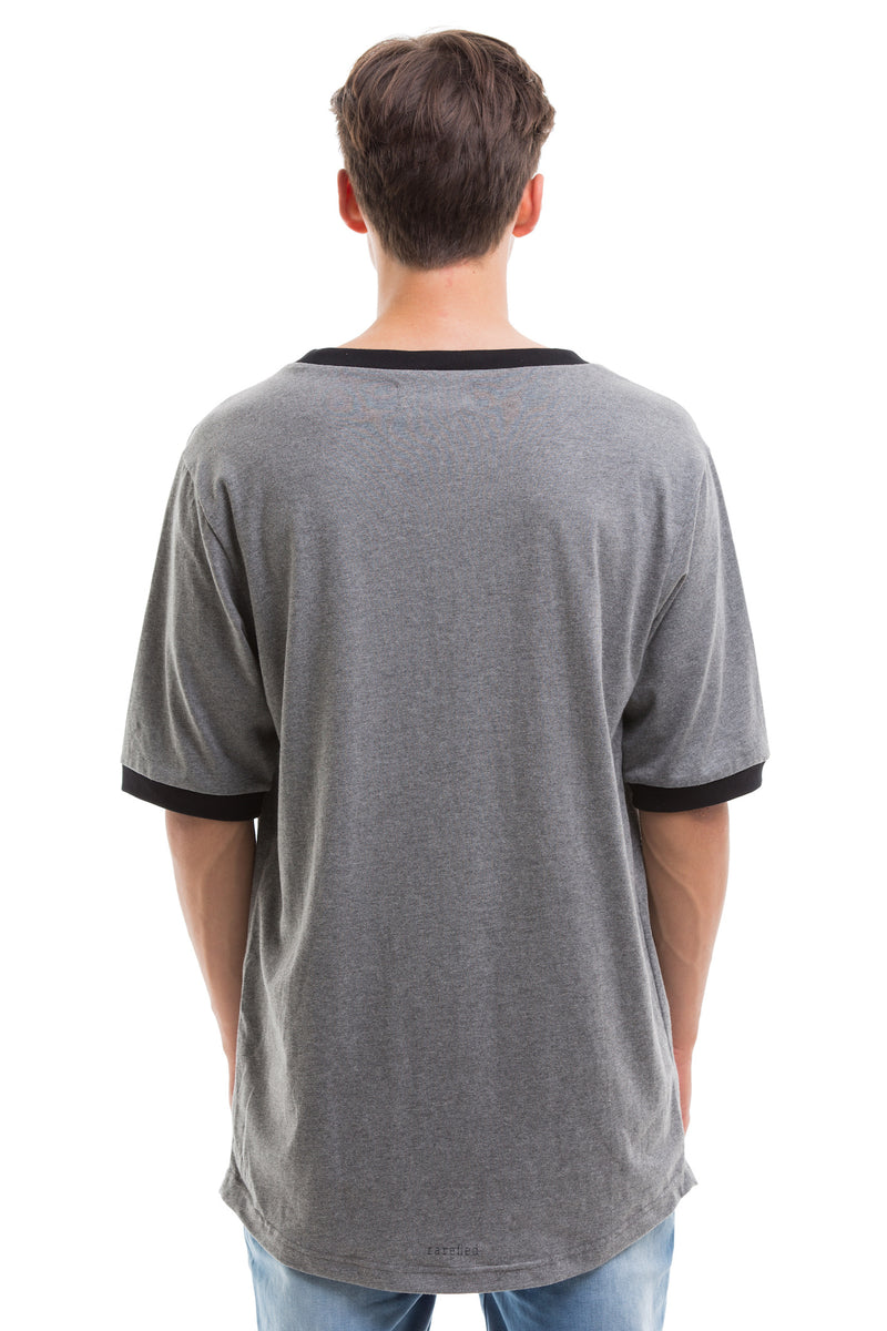 Grey Scoop Cut Short Sleeve - Back View