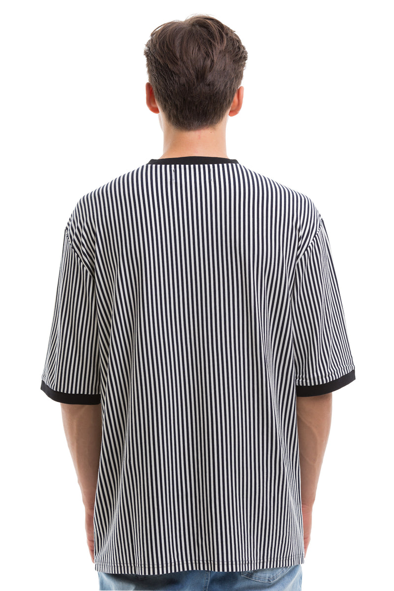 Vertical Stripes Short Sleeve With Ribbed Collar And Cuffs - Back View