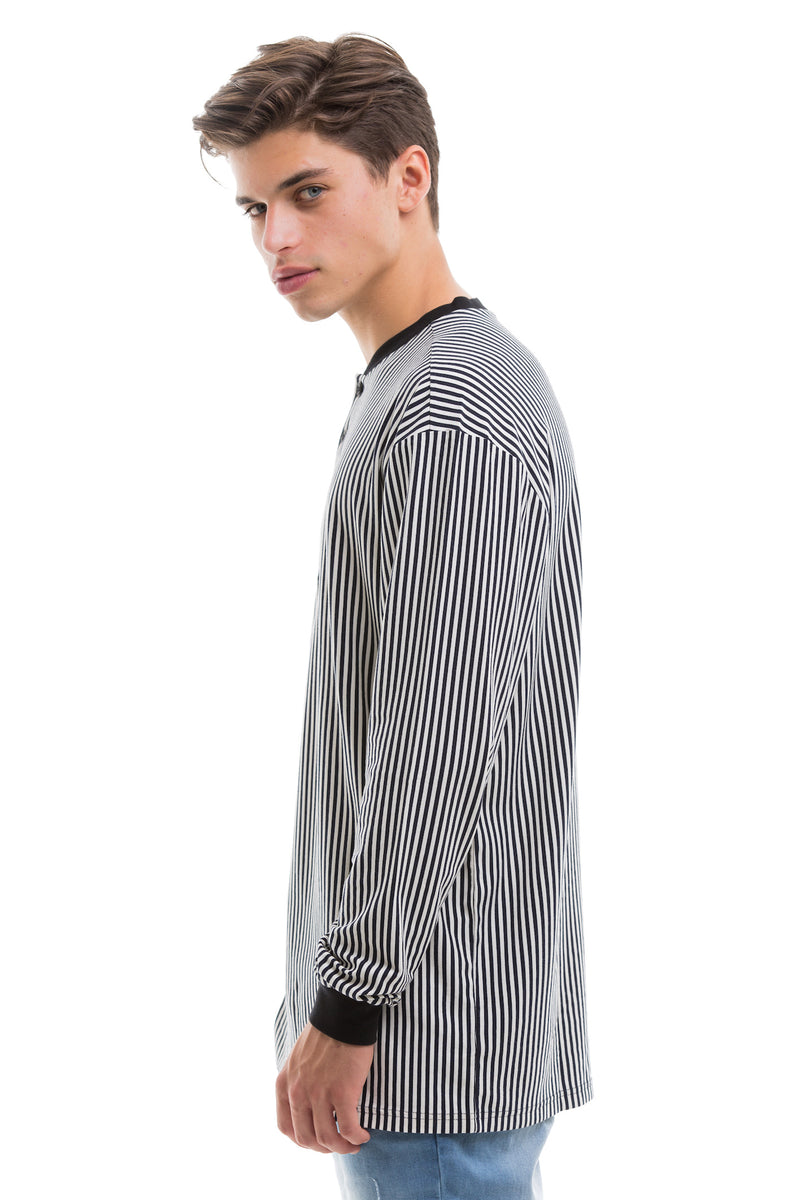 Vertical Stripes Long Sleeve With Ribbed Collar And Cuffs - Left View