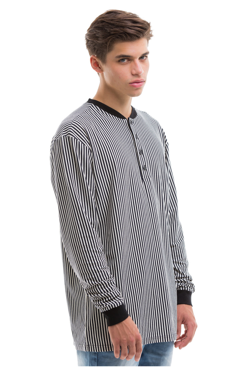 Vertical Stripes Long Sleeve With Ribbed Collar And Cuffs - Right View