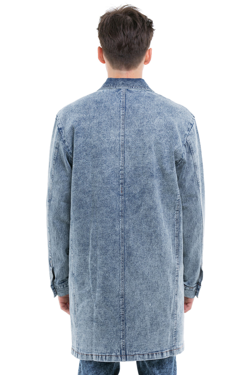 Denim Coat With Classic Collared Look Finished And A Straight Centered Back Focused Seam