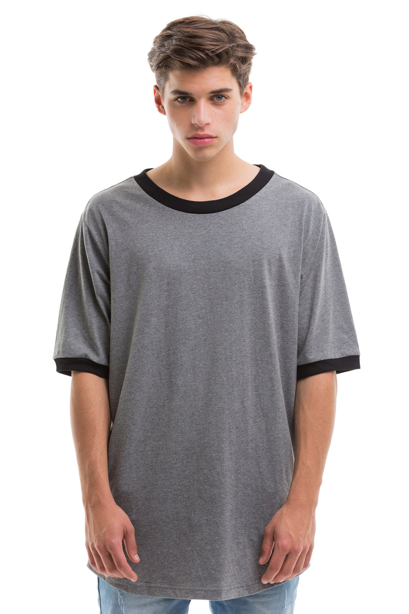 Grey Scoop Cut Short Sleeve - Front View