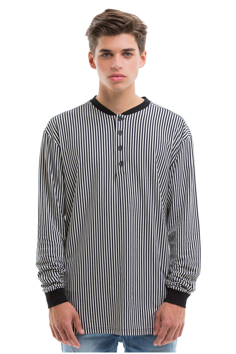 Vertical Stripes Long Sleeve With Ribbed Collar And Cuffs - Front View