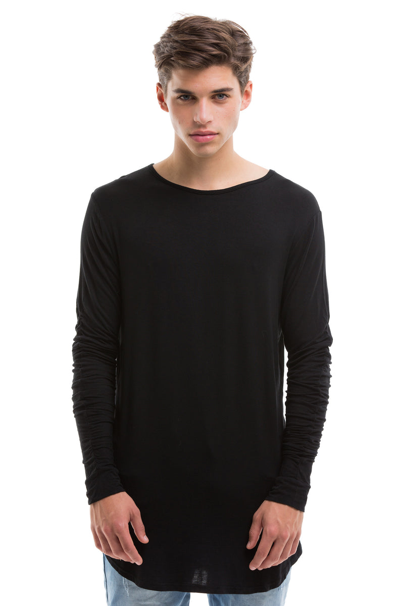 Black Scoop Cut Long Sleeve T Shirt With Double Cuffed Sleeve Ends - Front View