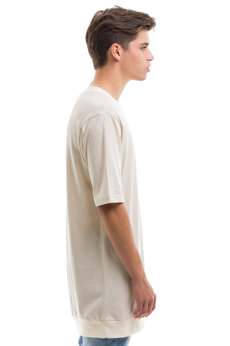 Short Sleeve T-Shirt With Ribbed Collar And Bottom - Side View