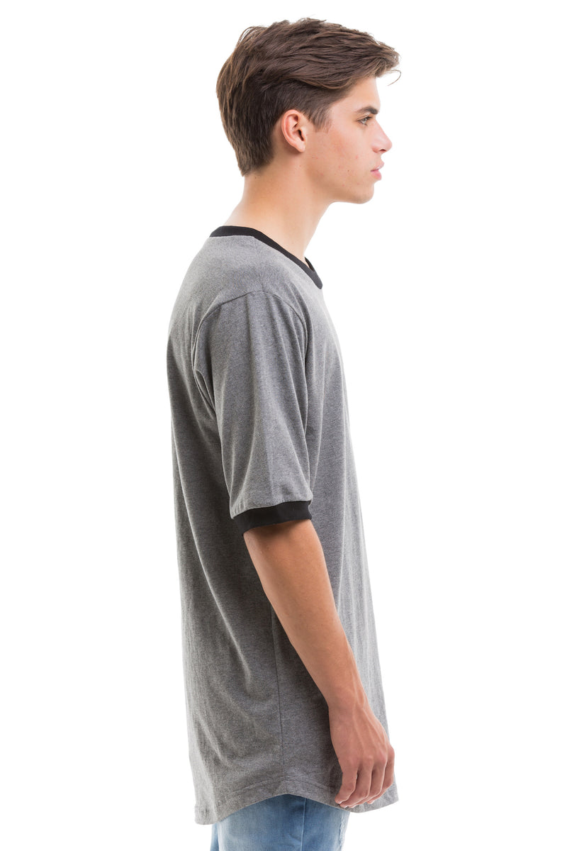 Grey Scoop Cut Short Sleeve - Side View