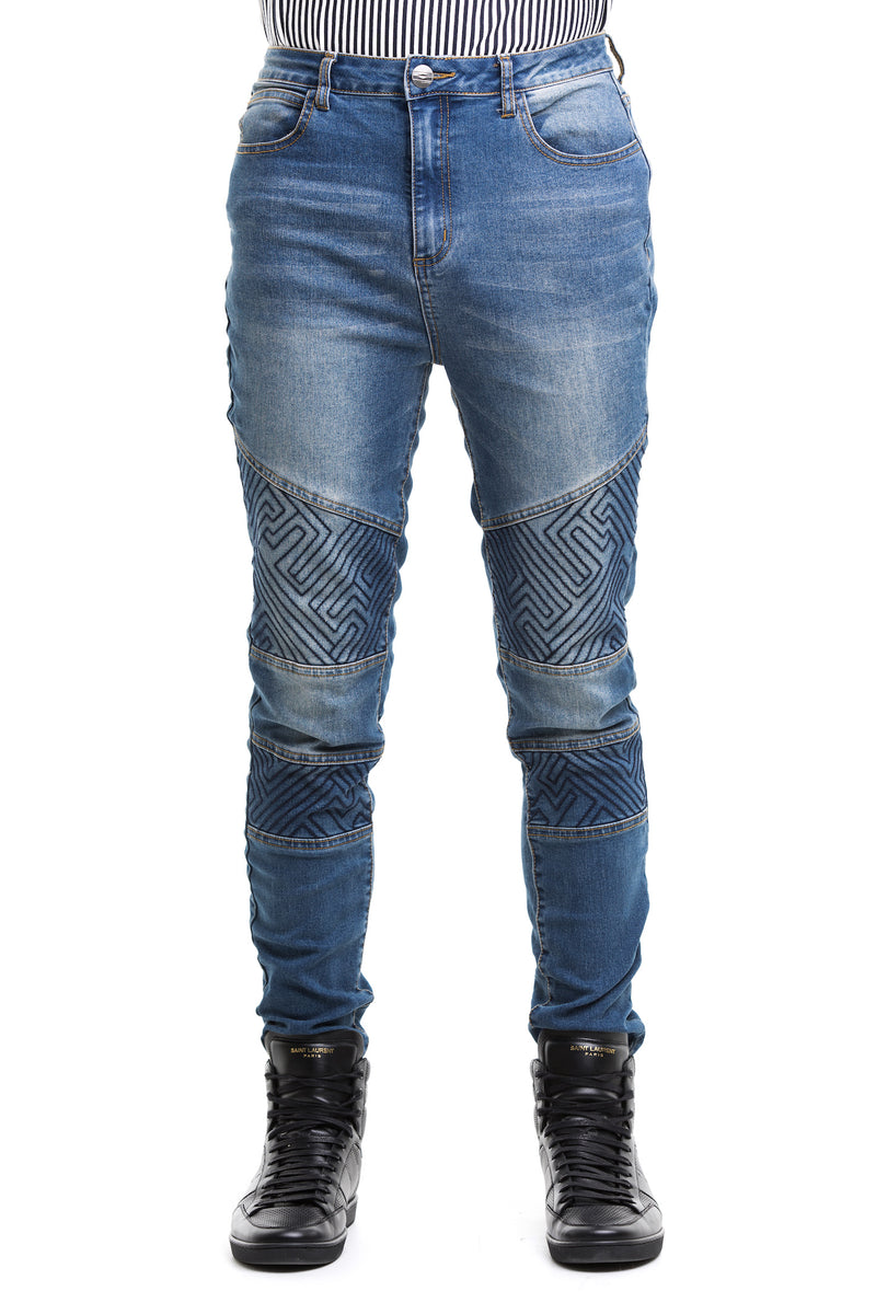 Routine Biker Denims With A Thick Cotton Blend