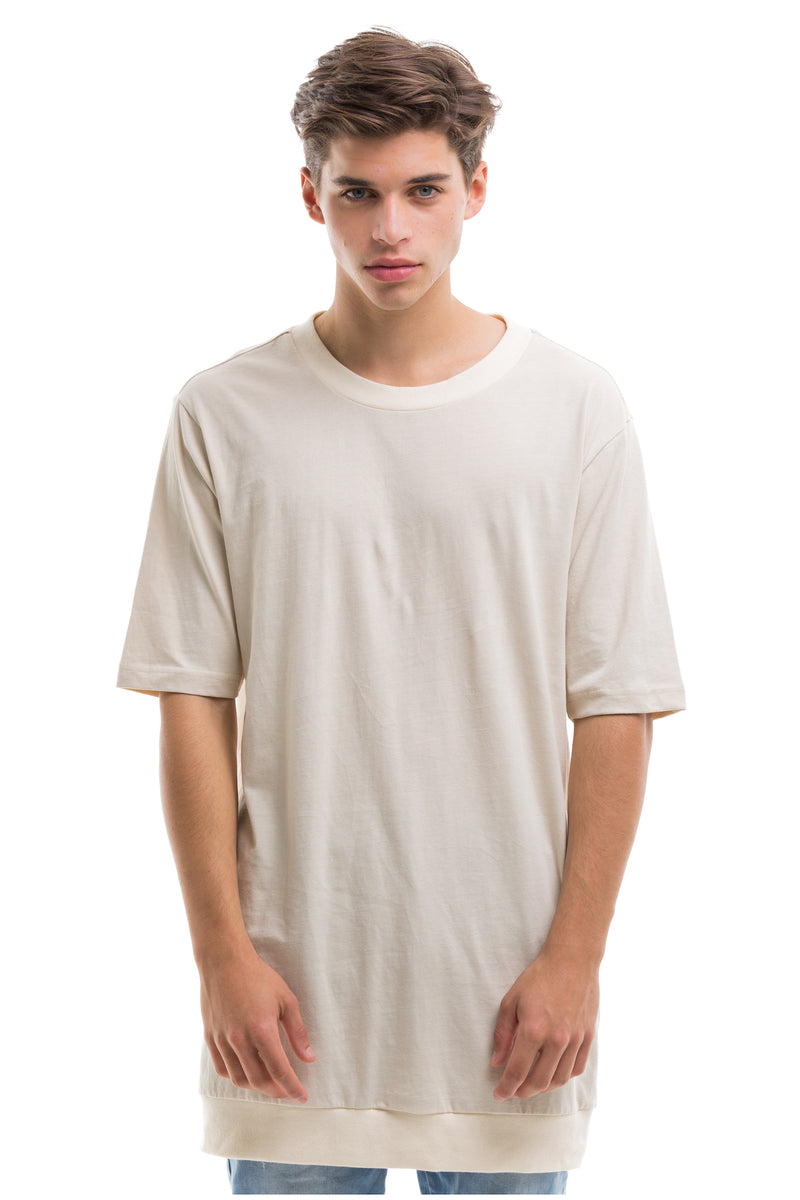 Short Sleeve T-Shirt With Ribbed Collar And Bottom - Front View