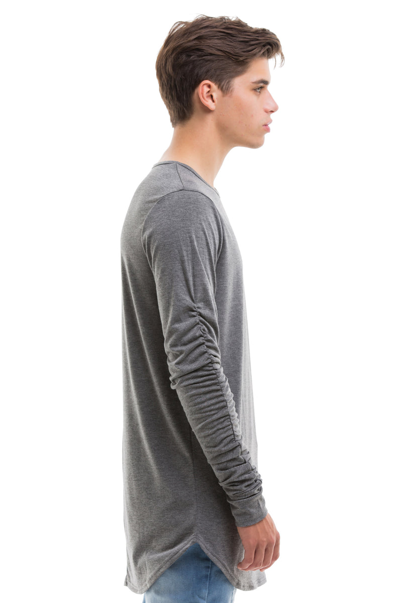 Grey Scoop Cut Long Sleeve T Shirt With Double Cuffed Sleeve Ends - Side View