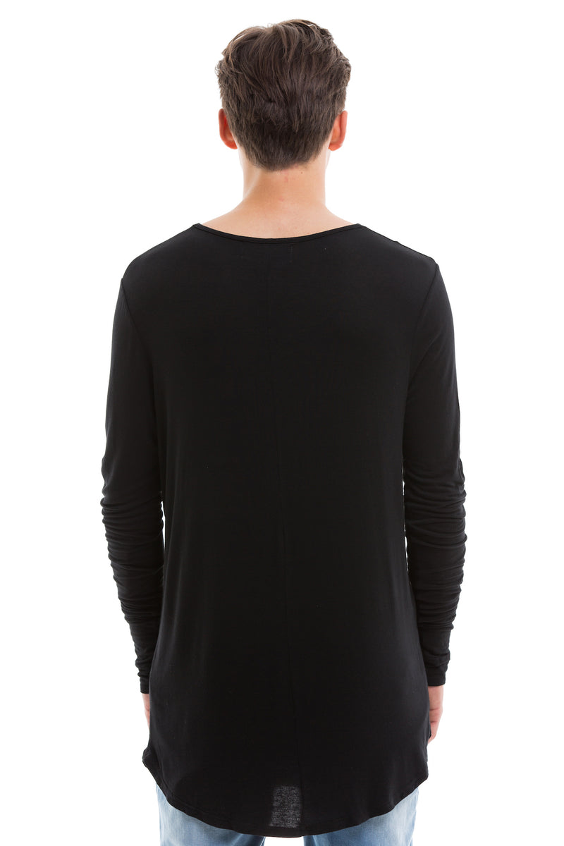 Black Scoop Cut Long Sleeve T Shirt With Double Cuffed Sleeve Ends - Back View
