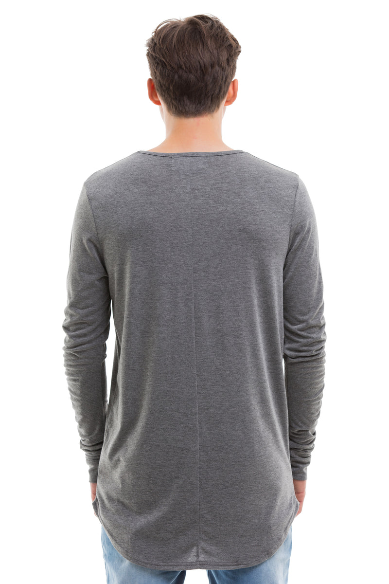 Grey Scoop Cut Long Sleeve T Shirt With Double Cuffed Sleeve Ends - Back View