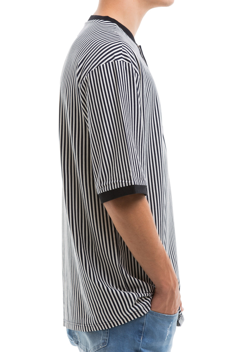 Vertical Stripes Short Sleeve With Ribbed Collar And Cuffs - Right View