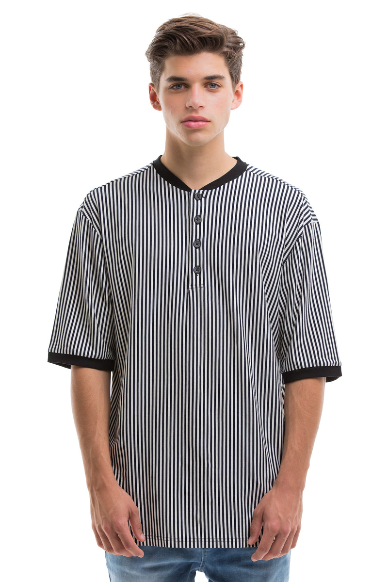 Vertical Stripes Short Sleeve With Ribbed Collar And Cuffs - Front View