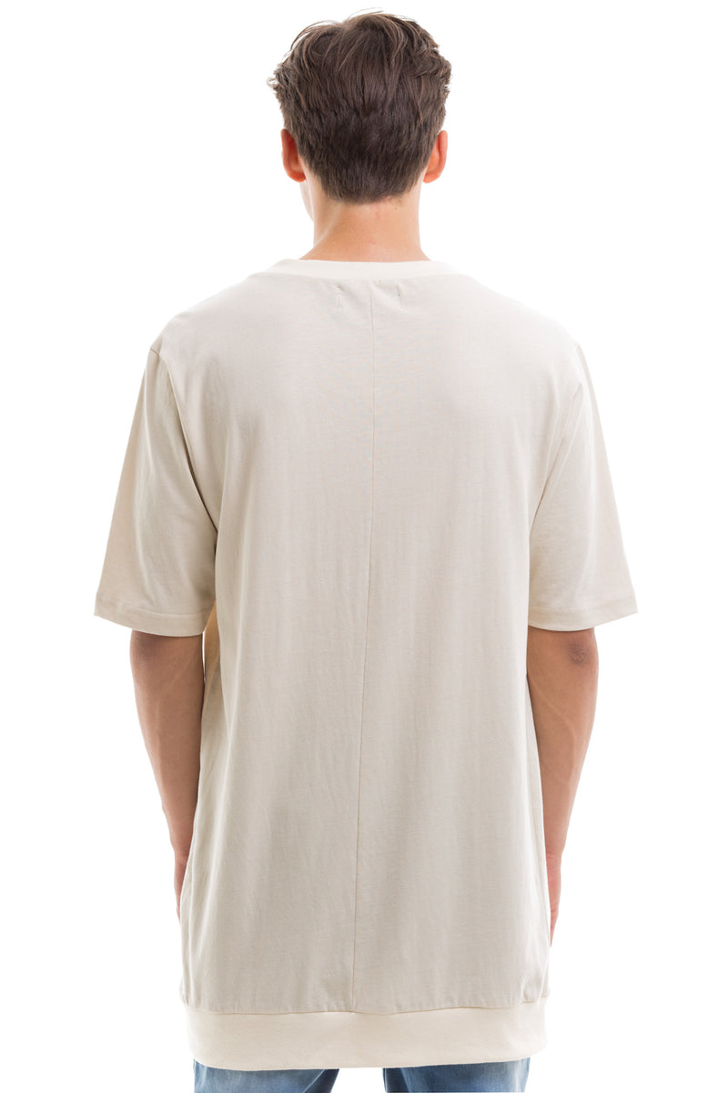 Short Sleeve T-Shirt With Ribbed Collar  -  Back View