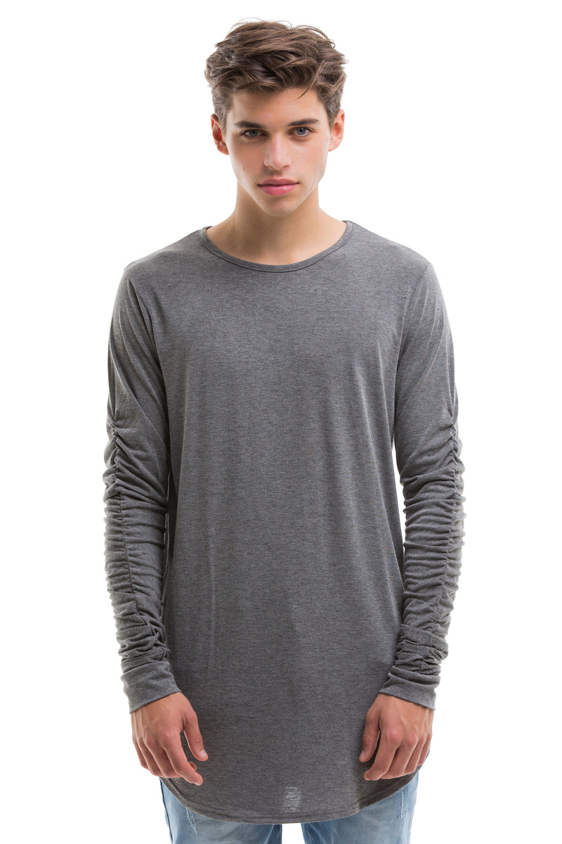 Grey Scoop Cut Long Sleeve T Shirt With Double Cuffed Sleeve Ends - Front View