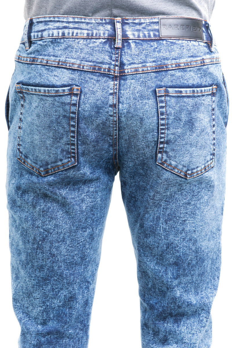 Haze Jeans With Tapered Straight Cut Finish Throughout The Leg - Back Patched Pockets Detailed View