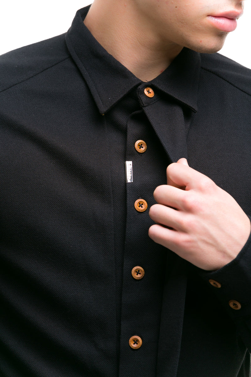 Black Japanese Shirt With Heavy Cotton Blend - Detailed View