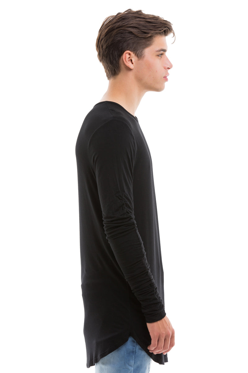 Black Scoop Cut Long Sleeve T Shirt With Double Cuffed Sleeve Ends - Side View