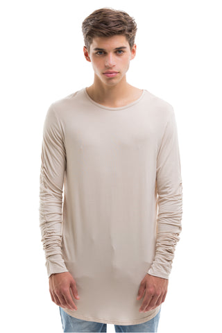 Scoop Cut Long Sleeve - BEIGE