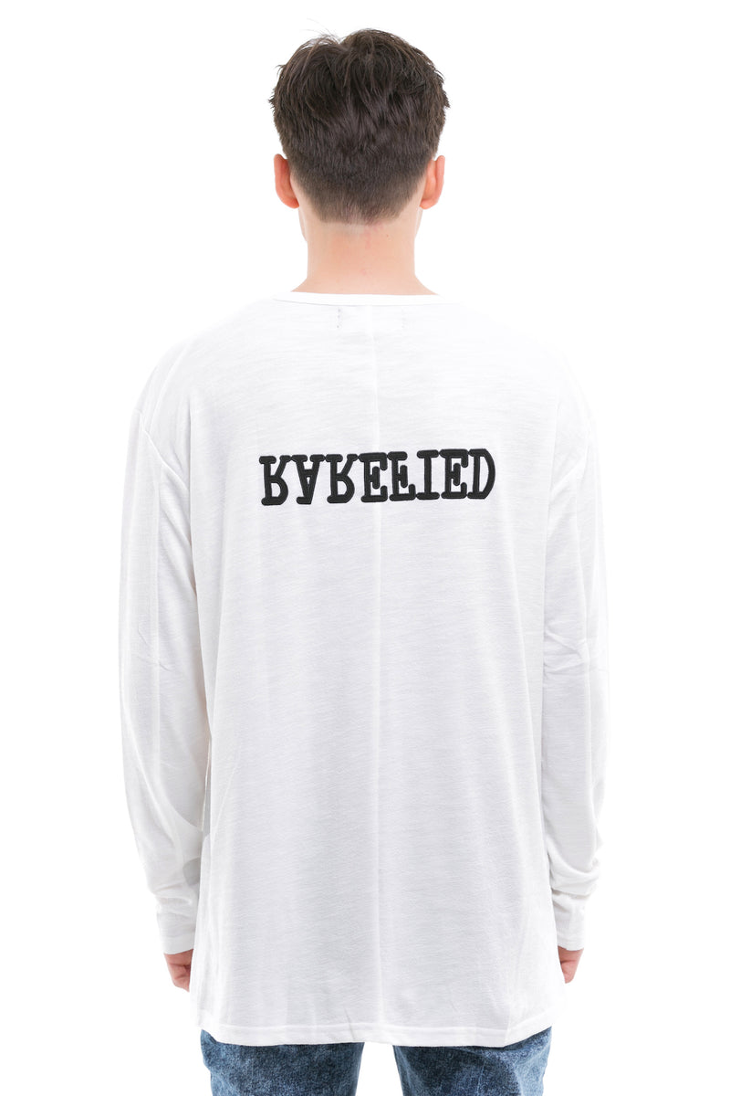 Rarefied Long Sleeve Cotton Mixed Blend T-Shirt - Rarefied Quoted Message