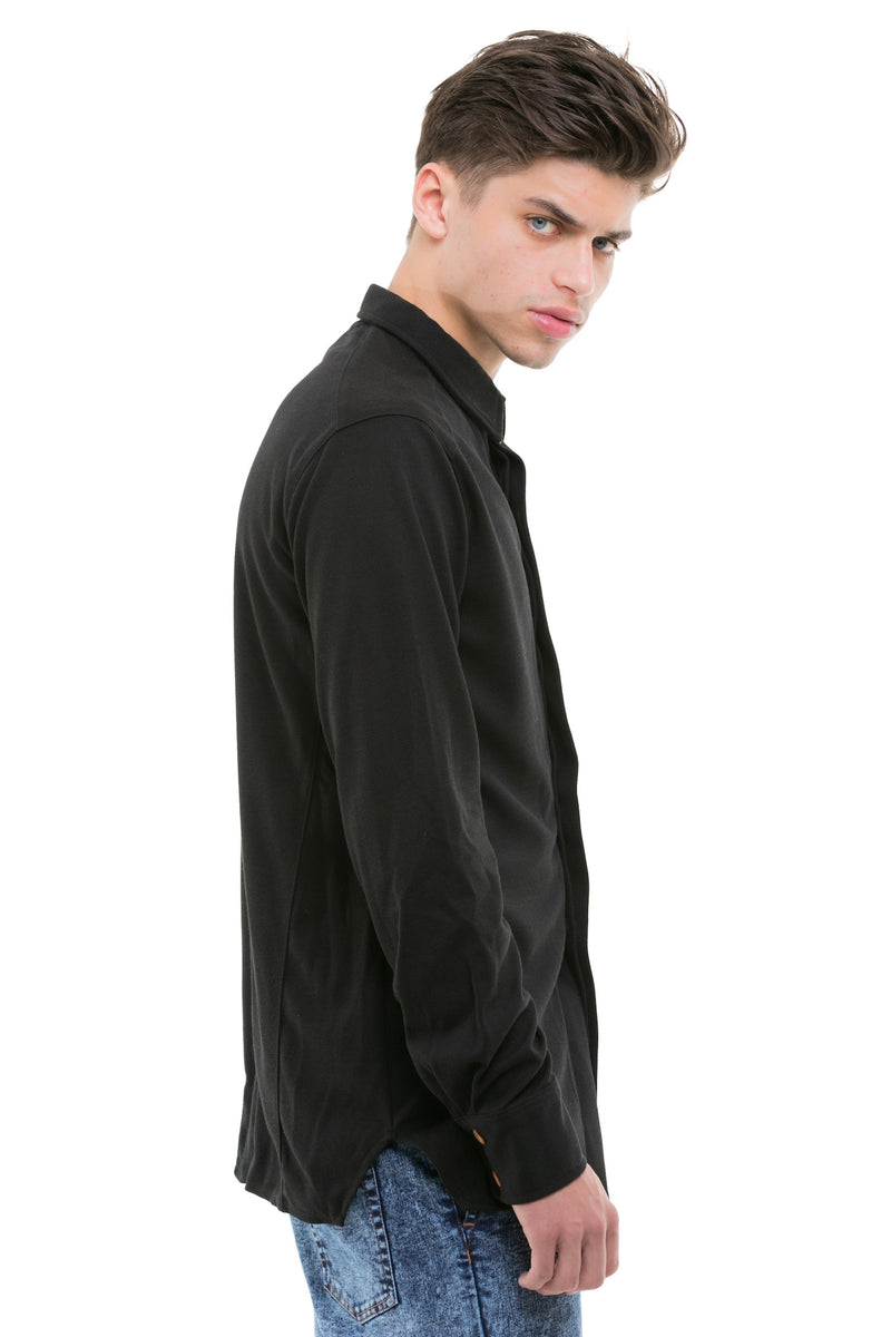 Black Japanese Shirt With Heavy Cotton Blend - Side View
