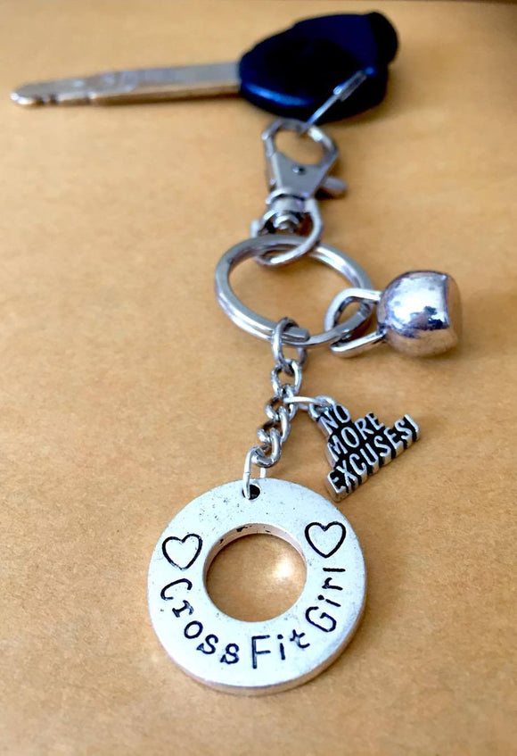 Crossfit Girl/Charms/ Kettlebell Keychain