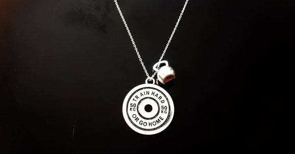 Train Hard or Go Home & Kettlebell Necklace