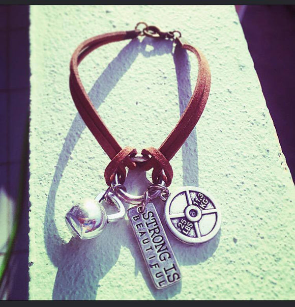 Leather Bracelet with ring and charms