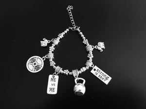 Flower silver beads with Fitness and Motivational Charms