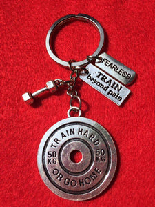 Train Hard or Go Home + Train Beyond Pain +Fearless + Dumbbell Keychain