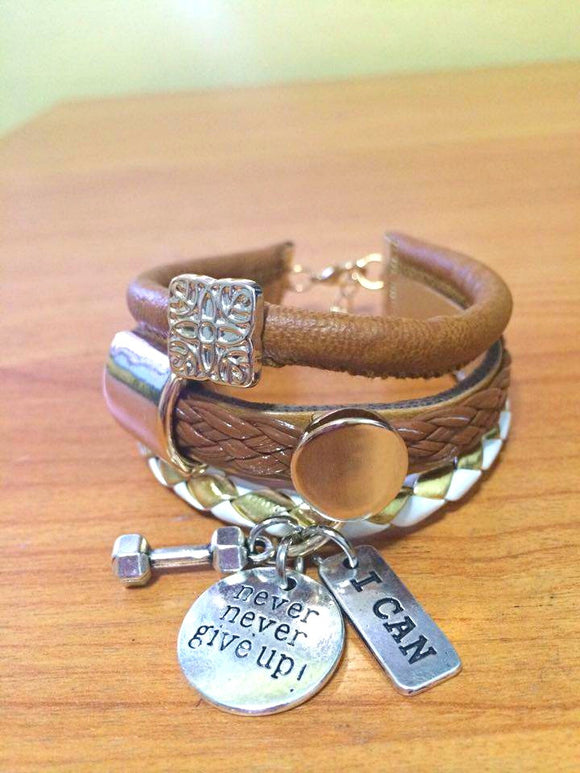 3layer Leather Bracelet with Fitness Charms