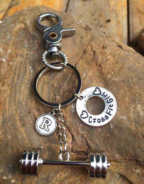 3D Barbell with CrossFit Girl/Letter Initial Keychain